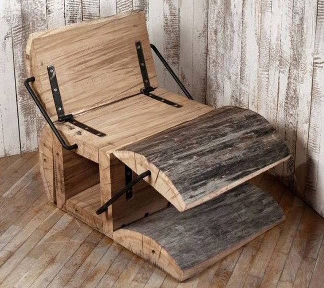 reclaimed wood carved chair