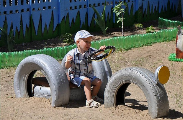 recycled tires van for kids
