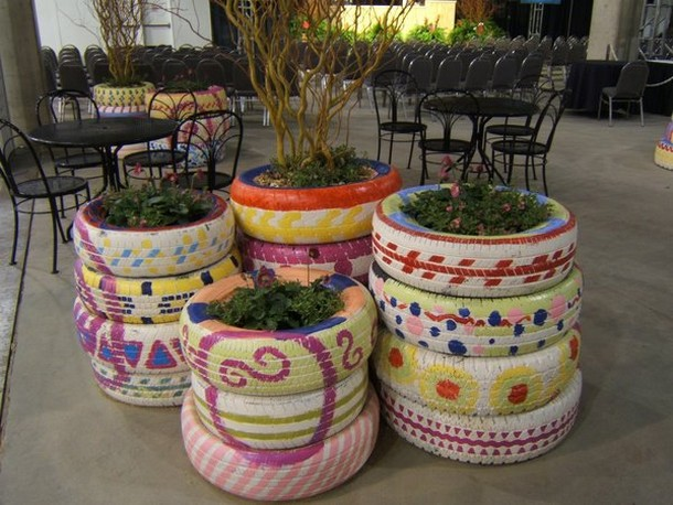 reused tires planters