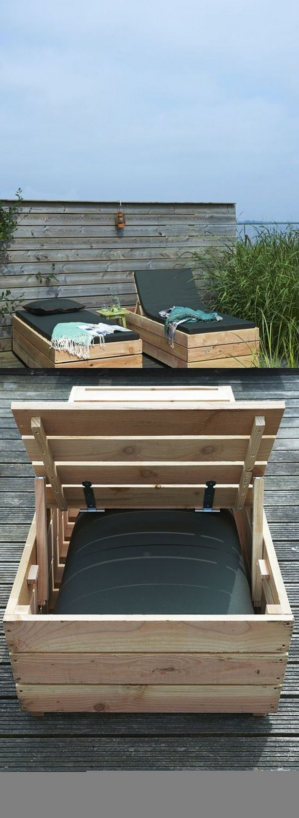 sun lounger made with pallets