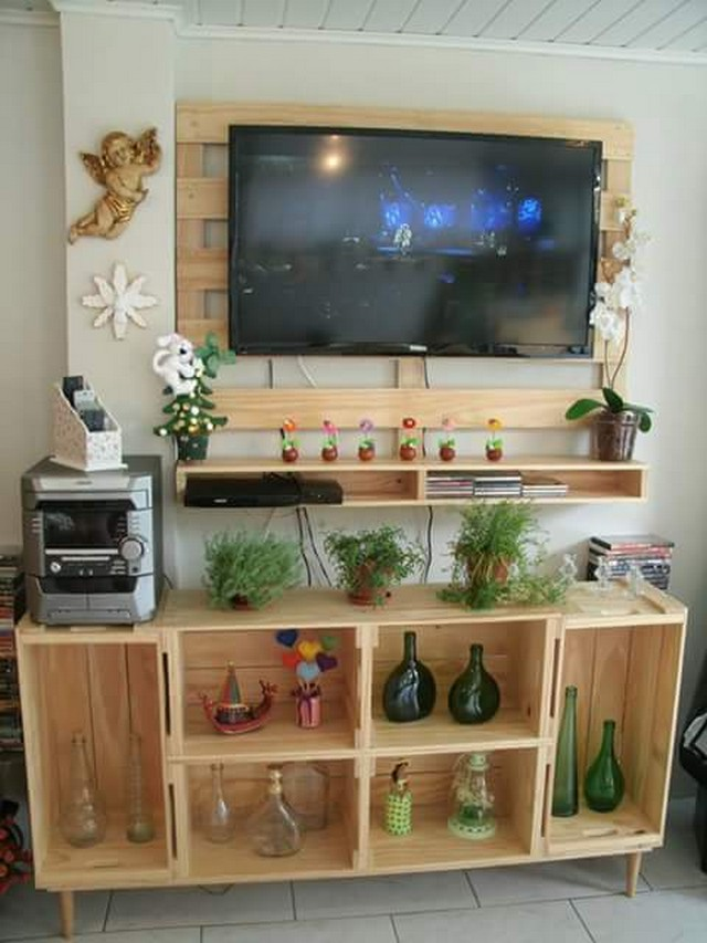 wood pallet tv holder and cabinet