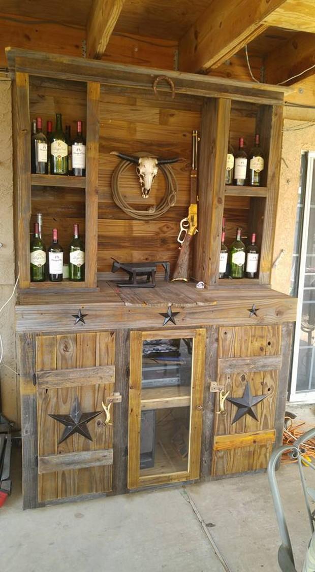 wooden pallet bar closet