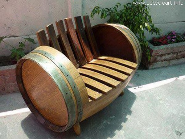 Old Barrel Recycled Garden Bench