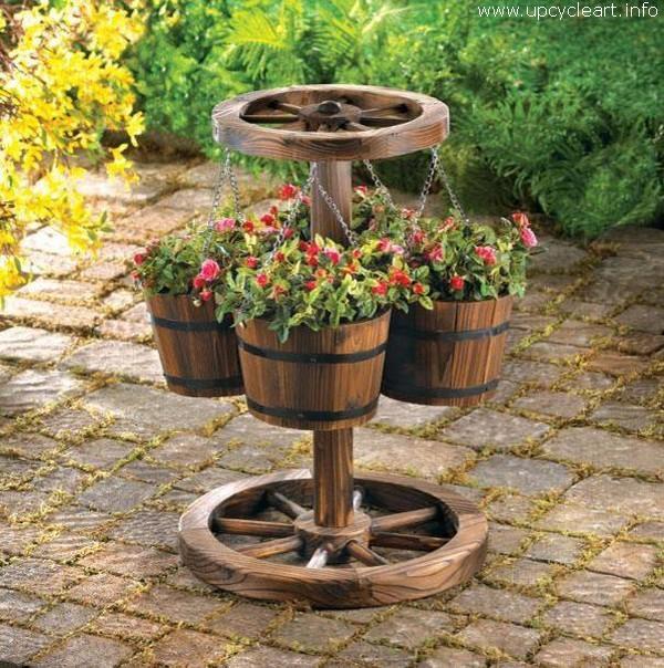 Old Barrel Repurposed Garden Art