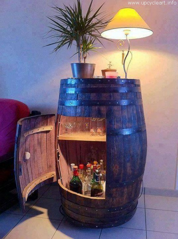 Old Barrel Reused for Bar