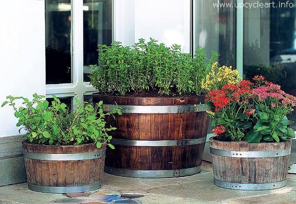 Old Barrel Reused for Garden Planters