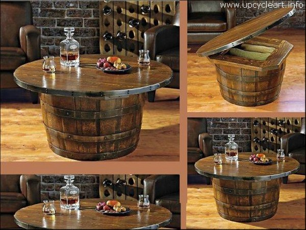 Old Barrel Table with Storage
