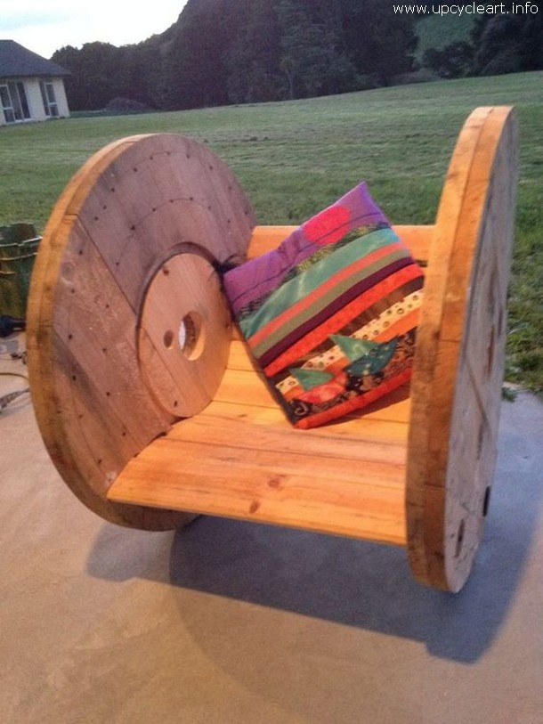 Pallet Cable Drum Rocking Chair