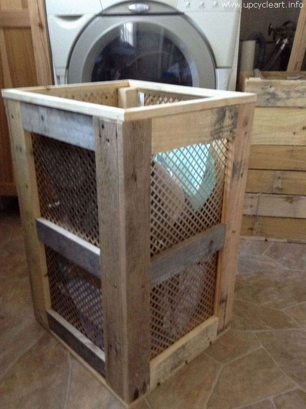 Recycled Wooden Pallet Laundry Hamper