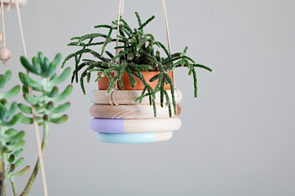 Wooden Ring Hanging Planter