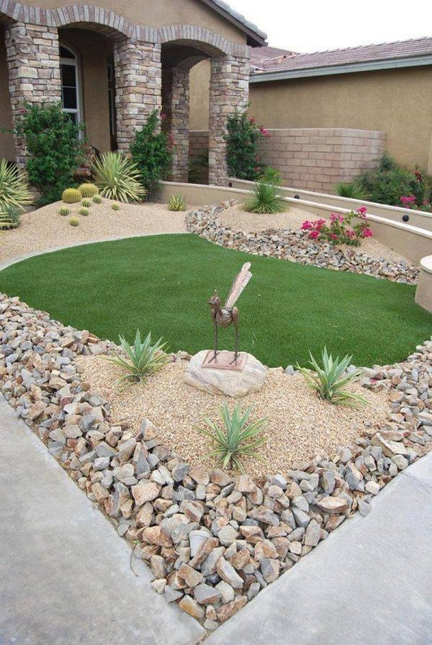 cute garden with pebbles