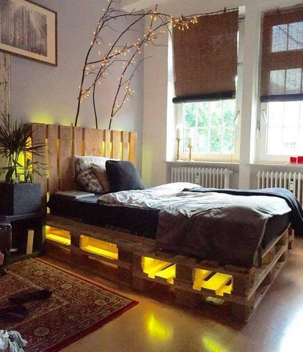 pallet bed with under lights