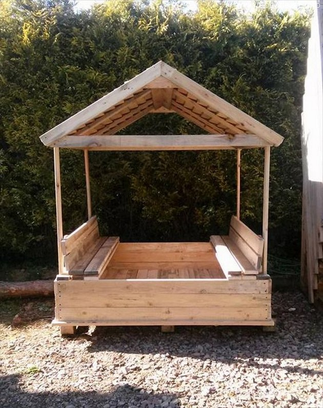 pallet gazebo sandbox for kids