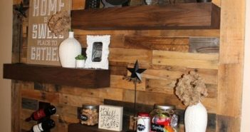 pallet wall shelf and art