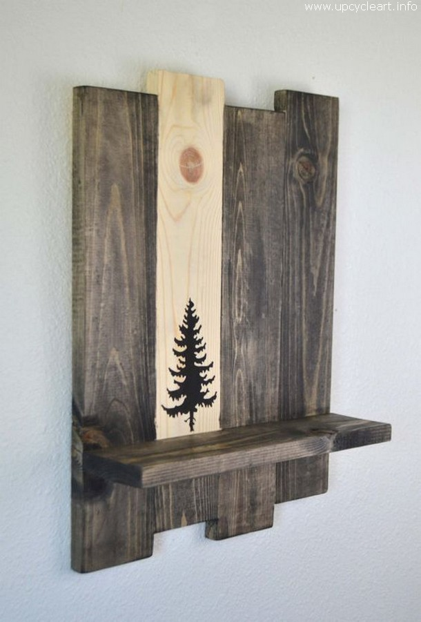 pallet wall shelf with decor