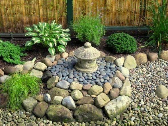 stone art in garden