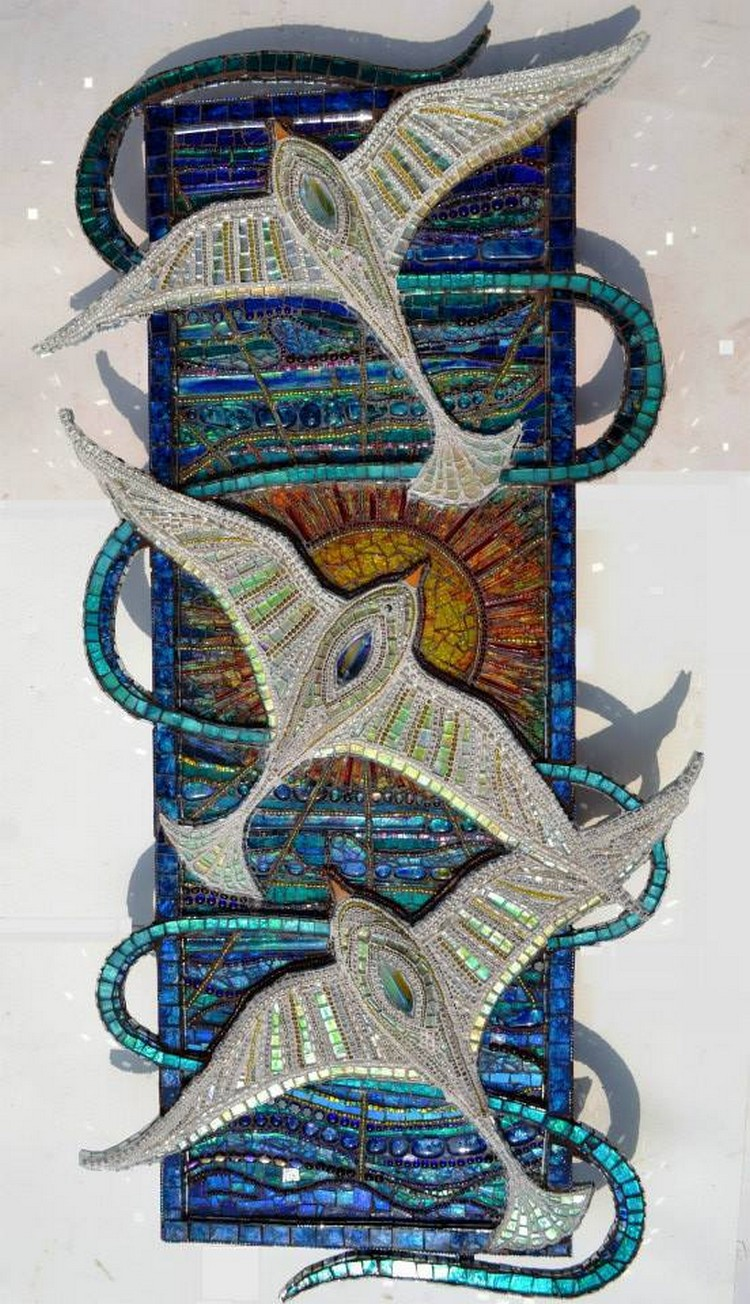Birds, Seagulls & sunset, Mosaic, 'light box', sculpture