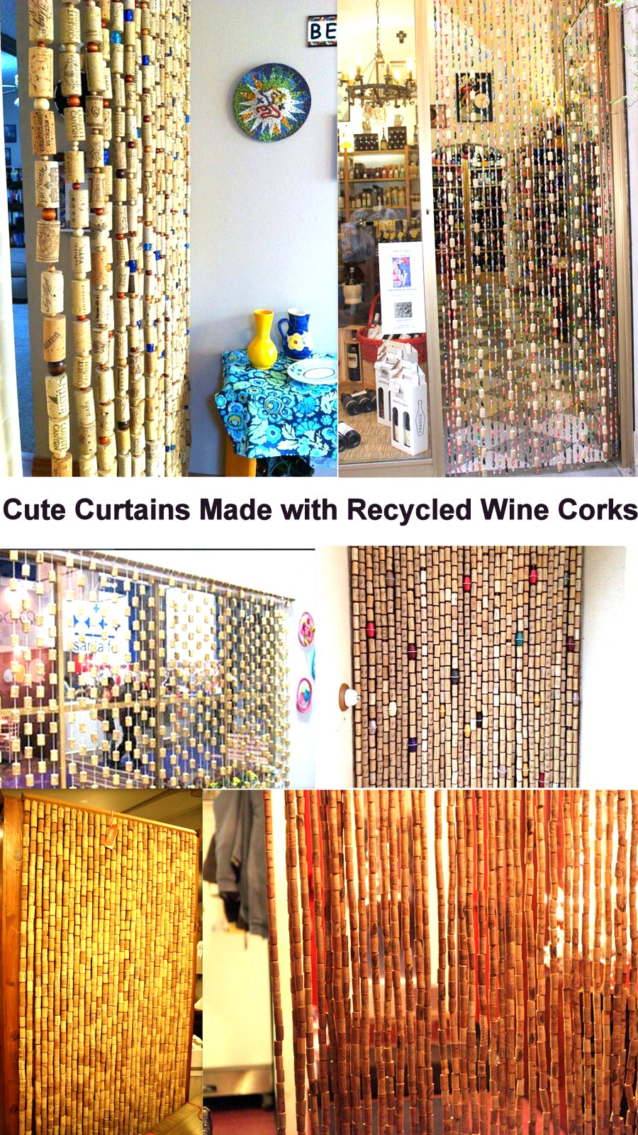 Cute Curtains Made with Recycled Wine Corks