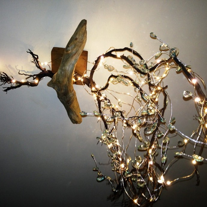 Driftwood wall tree chandelier