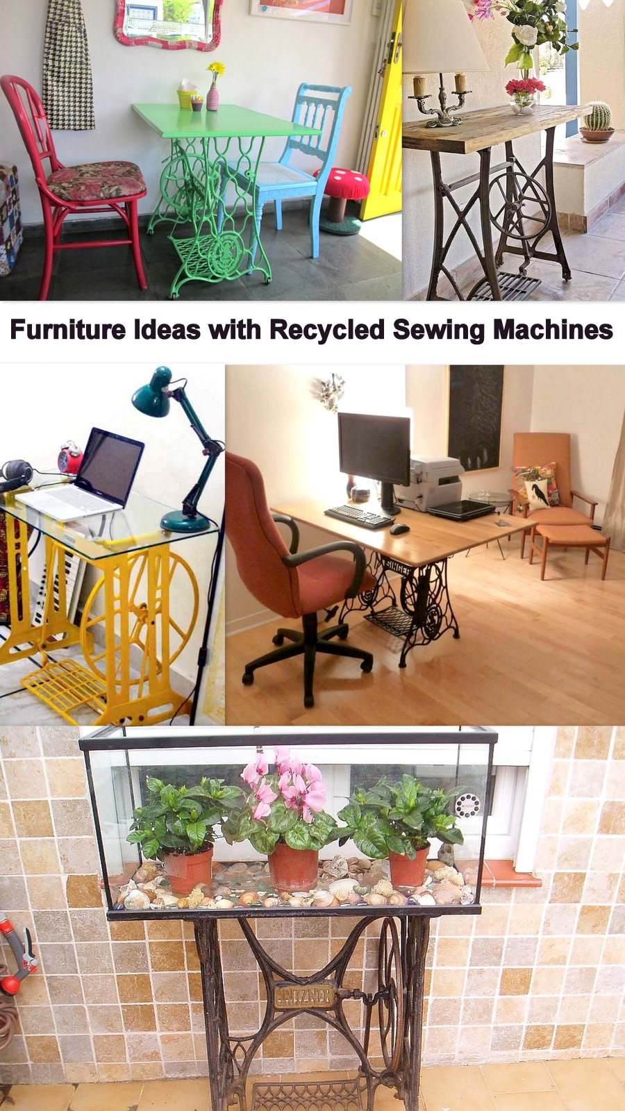 Furniture Ideas with Recycled Sewing Machines