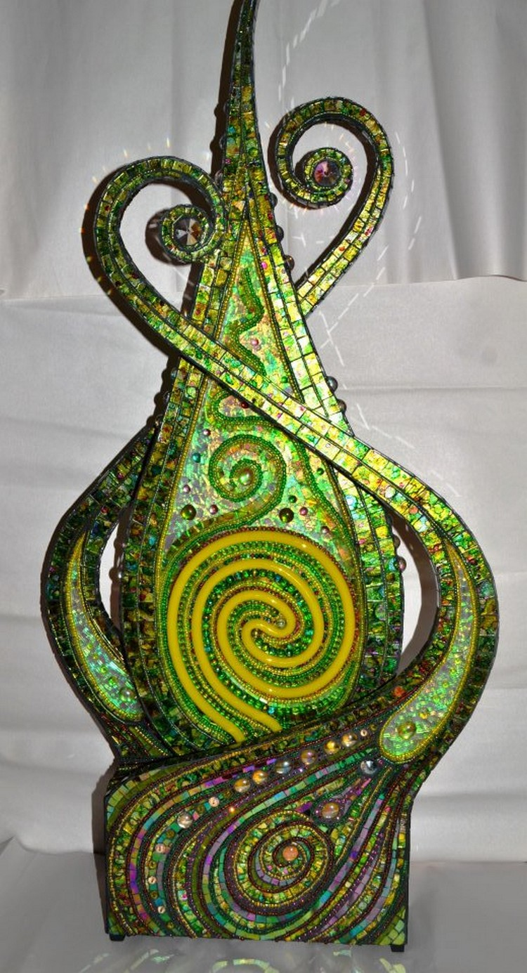 Neon, E.L wire and mosaic sculpture 37x17