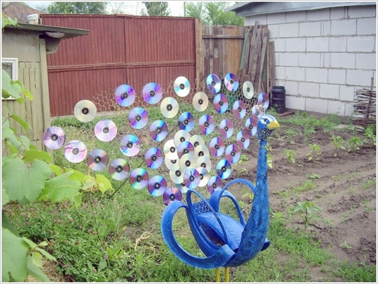Old CDs Recycled Garden Art