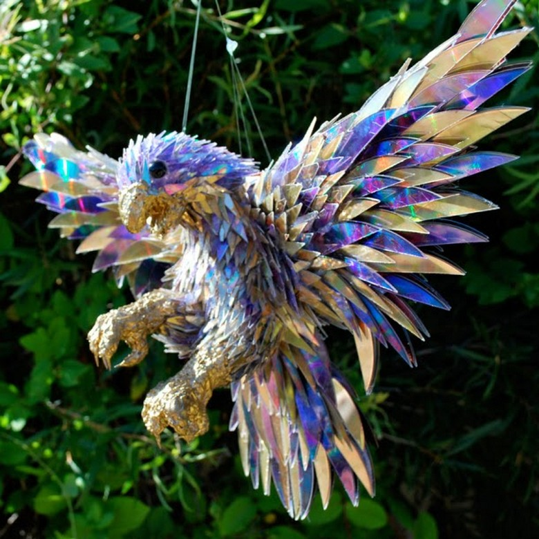 Old CDs Recycled Garden Bird Art