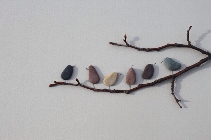 Pebble Art Birds