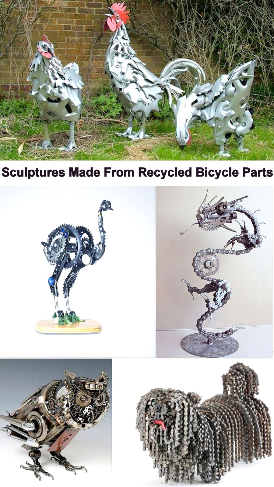 Sculptures Made From Recycled Bicycle Parts