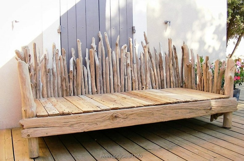bench made with pallets and driftwood