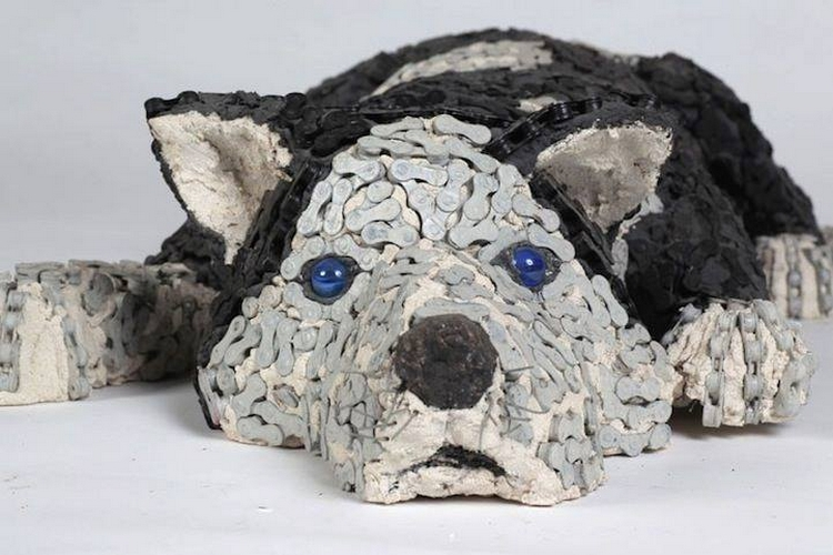 bicycle parts recycled dog