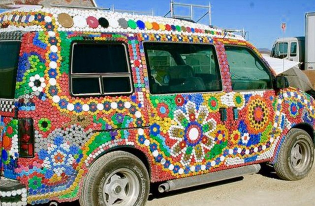 bottle caps decorated vehicle