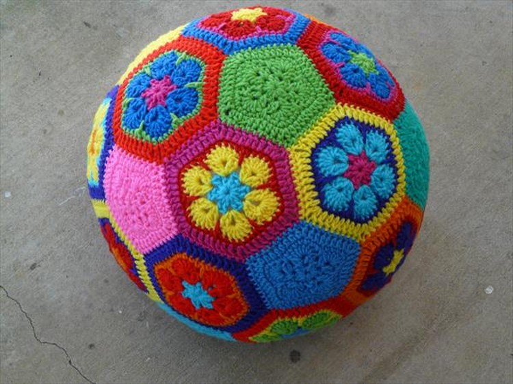 crocheted flower soccer ball