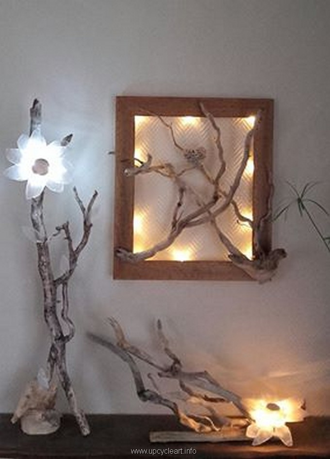 cute driftwood lamp and wall decor