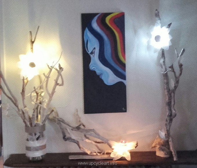diy driftwood lamp with decor