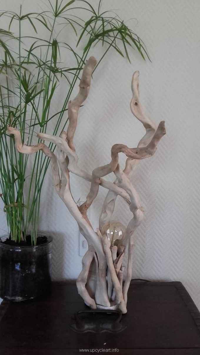 diy driftwood lamping