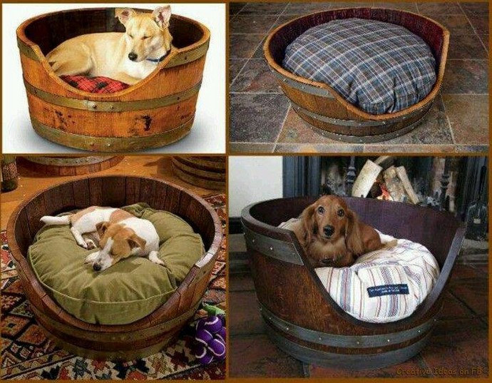 dog beds with wood barrels
