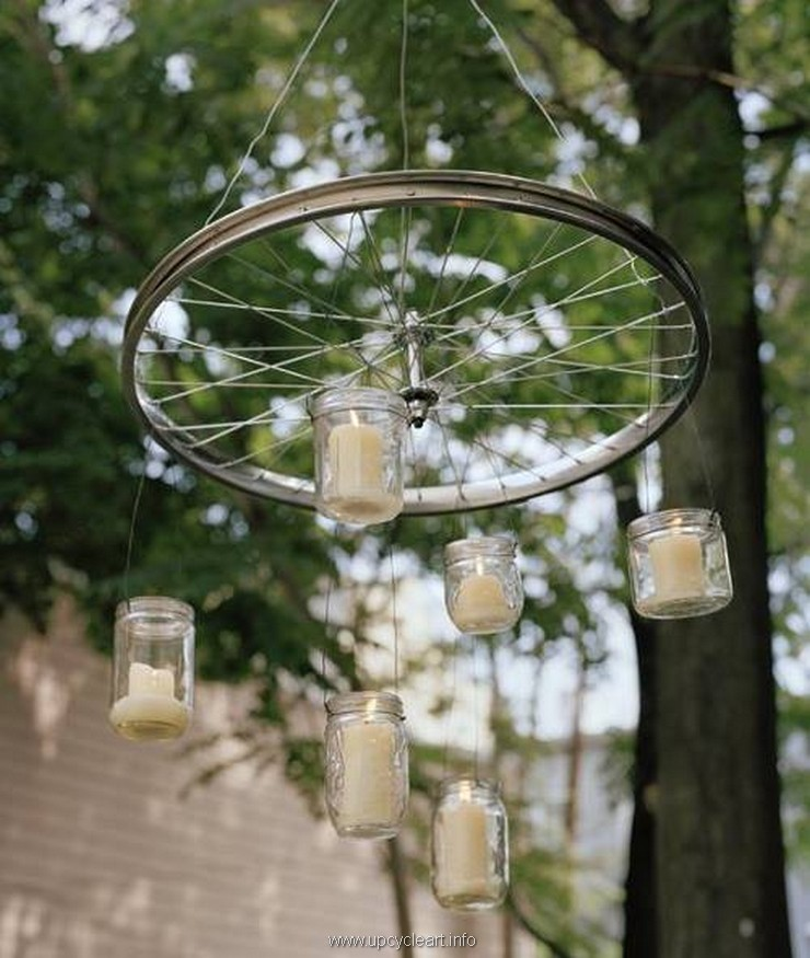 garden crafts with bicycle wheels