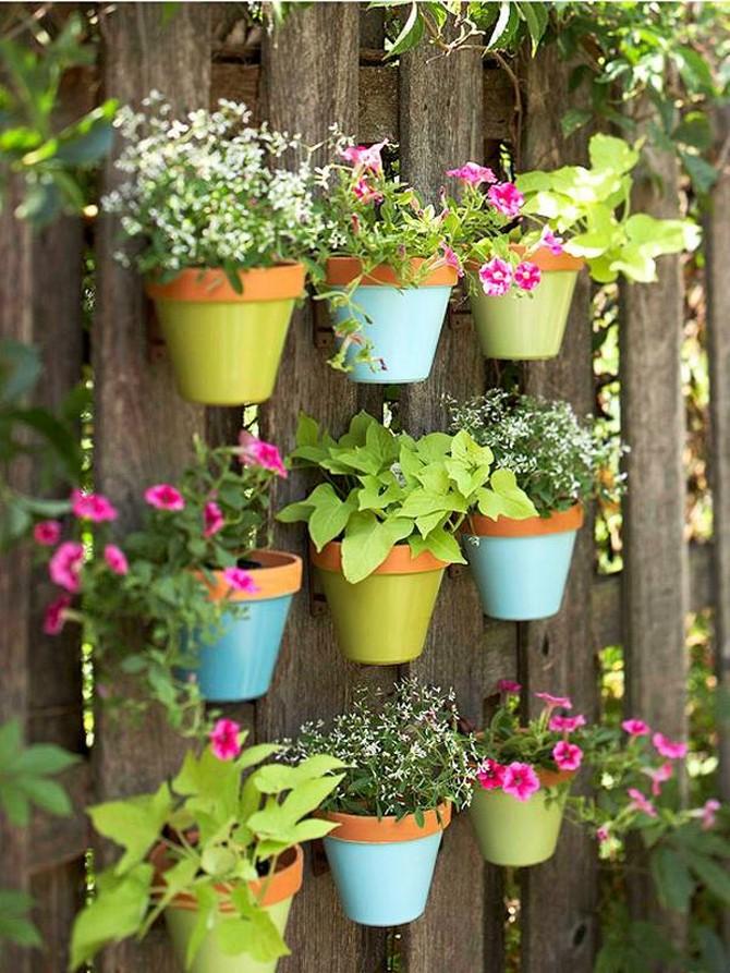 garden wall hanging pots