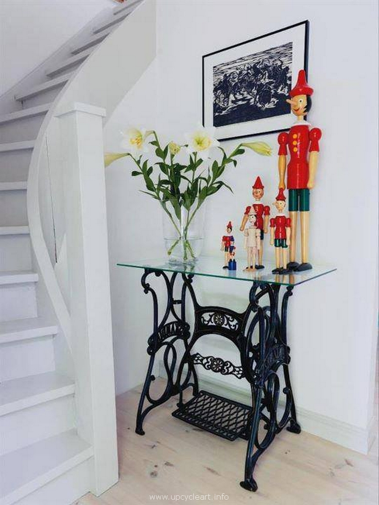 hallway table with recycled sewing machine