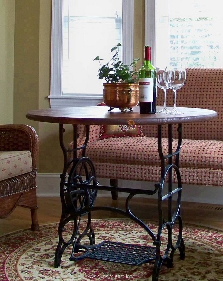 living room table with sewing machine
