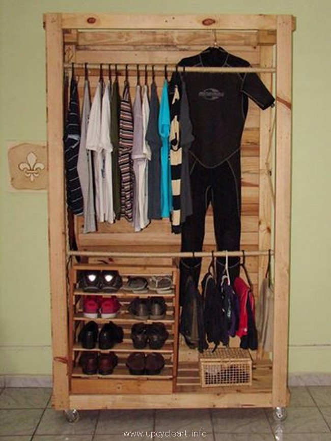 pallet Closet for clothes and shoes