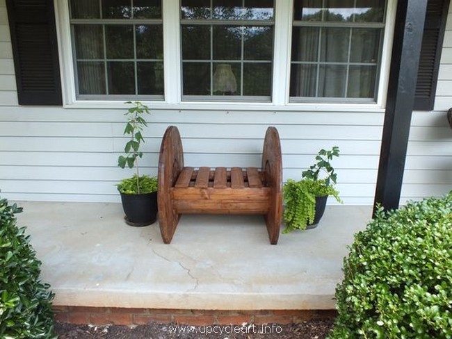 pallet cable spool bench
