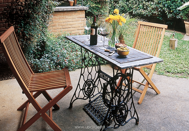 patio table with recycled sewing machine