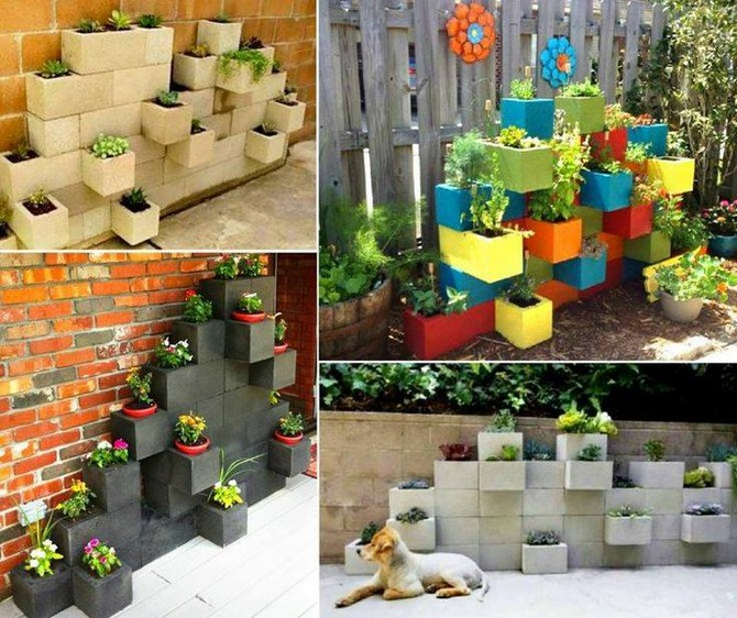 planters with concrete blocks