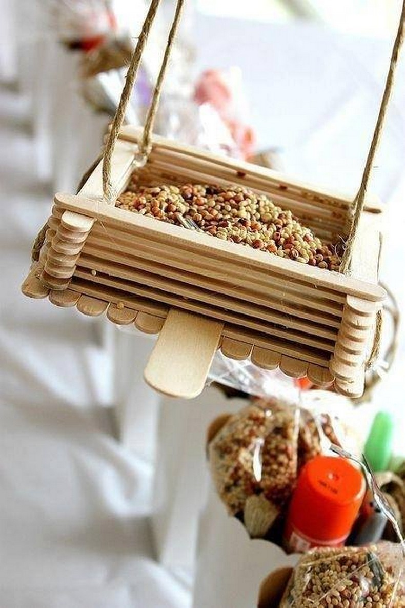 popsicle sticks birds food bowl