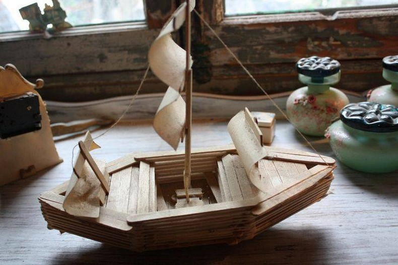 popsicle sticks boat for kids