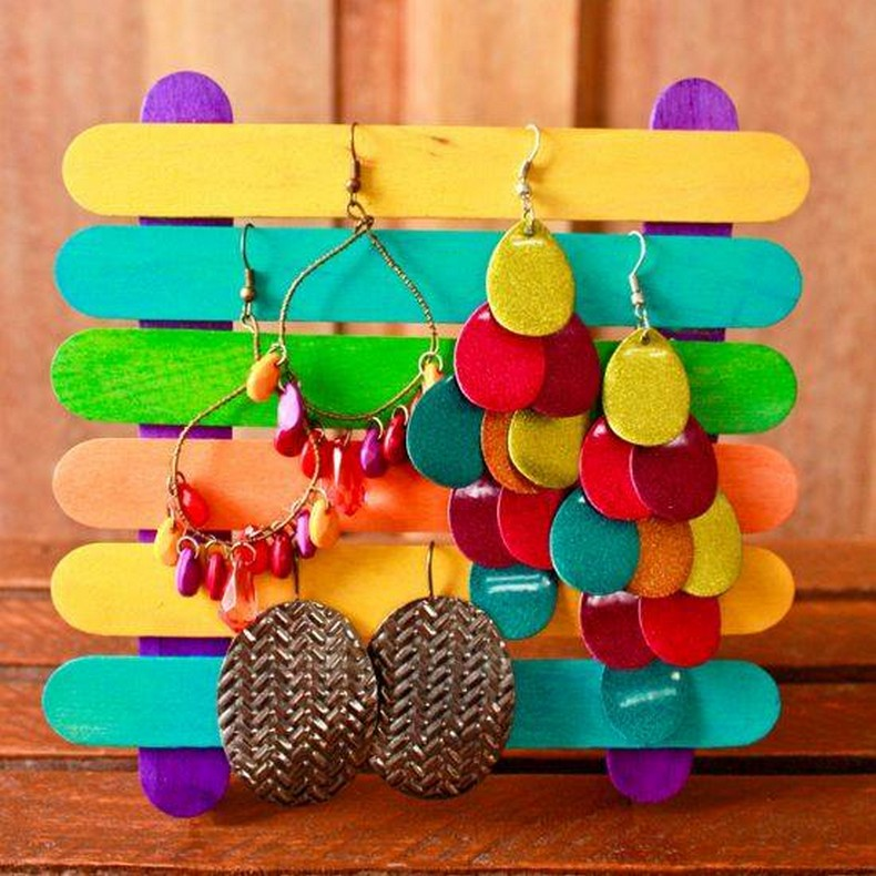 popsicle sticks jewelry holder