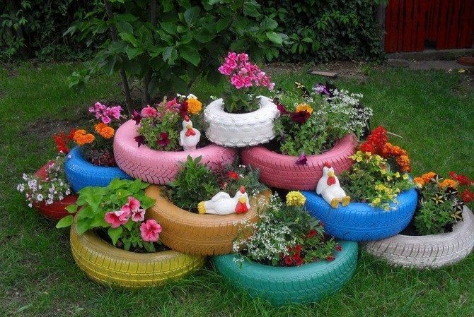 recyced tires garden decor