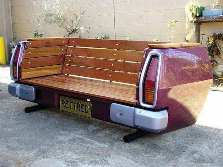 recycled automobile bench